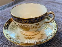 Minton Dynasty Cobalt Blue Tea Cup & Saucer Bone China H3775 L(@@)k