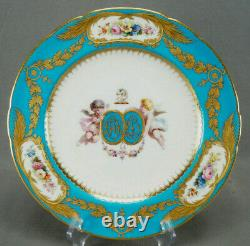 Minton Hand Painted Cherubs Armorial Monogram Turquoise Floral & Gold Plate A