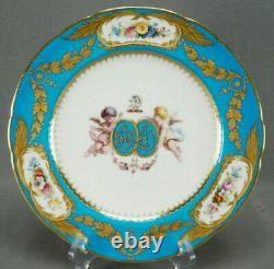 Minton Hand Painted Cherubs Armorial Monogram Turquoise Floral & Gold Plate B