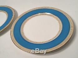 Mintons Pair of Celeste Blue & Gold 8-3/4 Dinner Plates ca. 1890/1926