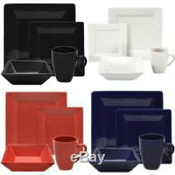 Modern Dinnerware Set 16 Piece Square Dinner Plates Bowls Kitchen Stoneware Dish