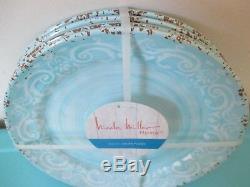 NEW Nicole Miller MELAMINE Salad Dinner Bowl Plate Set 12 Round Tableware Blue