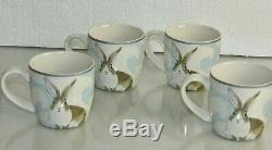 NEW Williams Sonoma 13 PC SET Damask Bunny Dinner Plates Bowls Oval Platter Mugs