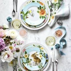 NEW Williams Sonoma Spring Garden Dinner Plates 4 PC SET White Blue EASTER 8 ava