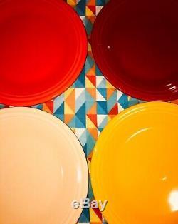 New Bright Rainbow Set 8 Fiestaware 10.5 Mixed Color Dinner Plates Fiesta