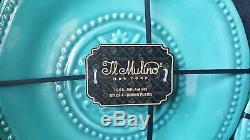New IL Mulino 12 pc Melamine Dinner Salad Plate Bowl Aqua Blue Set Hob Nail