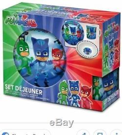 New Pj Masks 3 Piece Blue Kids Ceramic Bowl Plate & Mug Dinner Or Lunch Set
