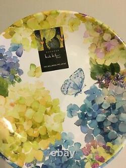 Nicole Miller MELAMINE 12 Pcs Dinner Plates & Salad Bowls Set Hydrangea Floral