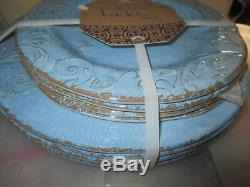 Nicole Miller Set 4 Blue Salad + 4 Dinner Plates Melamine Scroll Filigree Rustic