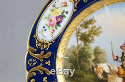 Old Paris Sevres Style Hand Painted Napoleonic Battle Cobalt Gold & Floral Plate