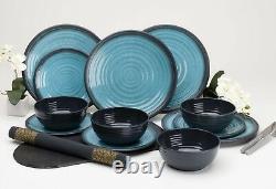 Outdoor Dining Dinner Set Melamine Plates Bowls Camping Picnic Crockery Aqua New
