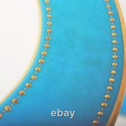 Pair (2) Antique Copeland Blue/gold Dinner Plates For Davis Collamore 7