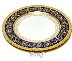 Pair Minton England Porcelain Cobalt Blue & Gilt Dinner Plates, 1902