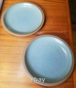Pair of 1994 Edith Heath 10.25 10 1/4 Rim Dinner Plates Blue Green Glaze (C)
