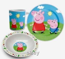 Peppa Pig 3 Piece Blue Kids Ceramic Bowl Plate & Mug Dinner Or Lunch Set