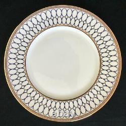 Perfect Set of 8 Wedgwood RENAISSANCE GOLD 10 3/4 Cobalt Blue Dinner Plates
