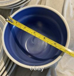 Pfaltzgraff Rio Blue Ring Dinner & Salad Plates Bowls Coffee Cups 14-pcs MINT
