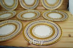 Pickard (11) Dinner Plates 11-Gold Encrusted Cobalt Blue Band Gold Trim