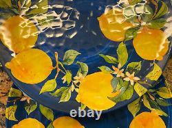 Pier 1 Blue Medallion Lemons 4 Melamine Dinner Plates New Set Provence Style