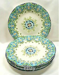 Pier 1 Celeste Dinner Plates x4 Blue Green Yellow Floral Scrolls
