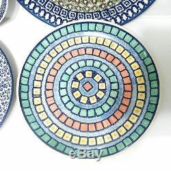 Polish Pottery 4 Mixed Dinner Plates 10.5 1 Unikat
