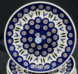 Polish Pottery Boleslawiec Wiza 4 DINNER PLATES Roosters, New