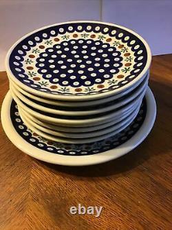 Polish Pottery Handmade Poland Mosquito Boleslawiec 8- 8 Salad Plates &1 Dinner
