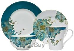 Porcelain Teal Dishes Plates Bowls Mug Kitchen Dinnerware Service Set 16 Piece
