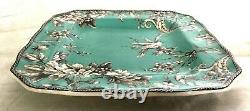 RARE 222 Fifth Square Dinner Plates Set Birds Teal Adelaide Turquoise