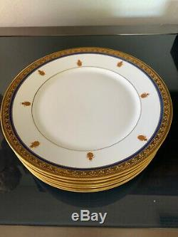 RARE! Bee Set of 6 Plates Sevres & Limonges White Blue and Gold 9 5/8 Plate