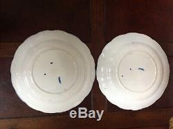 RARE Doulton Willow Aster Blue Two Dinner Plates, Dated before 1891 Blue Willow