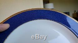 RARE Set 12 Wedgwood Plates Spaulding Dinner Luncheon Blue Gold antique china