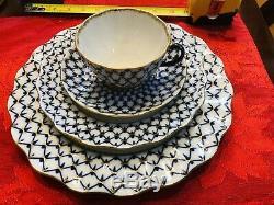 REAL Lomonosov Imperial Russian Porcelain Cobalt Net Teapot Coffeepot Blue Gold