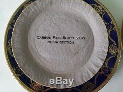 ROSENTHAL CHINA COBALT & GOLD ENCRUSTED DINNER PLATES CARSON PIRIE SCOTT Co