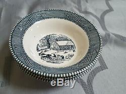ROYAL CHINA CURRIER AND IVES BLUE lot OF 80 DISH PIECES EXC 8 DINNER PLATES+