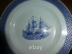 ROYAL COPENHAGEN Denmark TRANQUEBAR Blue Sailboat Center 4604 Dinner Plate PO