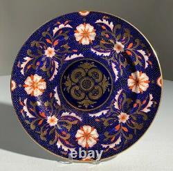 ROYAL CROWN DERBY English Pattern 5028 Cobalt Oriental ROSE Dinner PLATE 1937