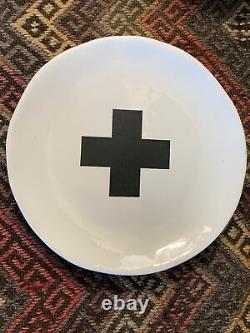 Rae Dunn Indigo Dreams 8 Dessert Salad Plate Set Of 4 Flower Cross Stripe +