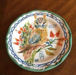 Rare! Anthropologie Nathalie Lete Francophile Whimsical Owl Hou Hou Plate