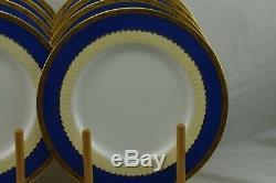 Rare Minton England Blue Gold Encrusted Dinner Plates Set 8