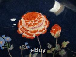 Rare Set of 10 Copeland Spode Hand Painted Botanical Dinner Plate Cobalt Blue