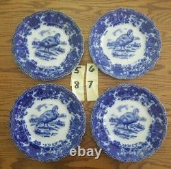 Rare & Stunnning 1900's Ridgways Turkey Flow Blue Platter & Plates
