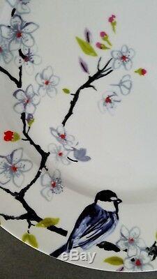 Roscher & Co RRM26 Set of 5 Bone China Dinner Plates Blue Bird Floral Branch