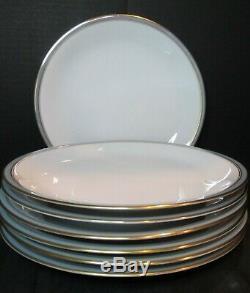 Rosenthal Gala Blue Form E Shape Continental Trim 3455 Germany 7 Dinner Plates