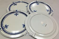 Rosenthal Siena Blue Continental 4 Dinner Plates Blue Bands Scrolls Stoneware