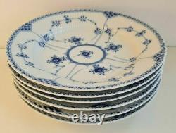 Royal Copenhagen 1/571 blue fluted half lace 6 dinner plate set antique vintage