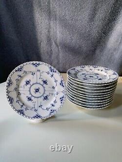 Royal Copenhagen Blue Fluted Full Lace Dinner Plates Set Of 12 1st Q 1/1086