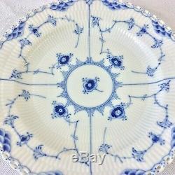 Royal Copenhagen Blue Fluted Full Lace Set 2 Dinner Plates 1/1084 1st Q 9 7/8d