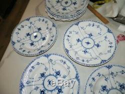 Royal Copenhagen Blue Fluted Half Lace 571 Dinner Plates Set Of Four (4)