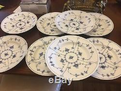 Royal Copenhagen Blue Fluted Plain Dinner Plate Set Of 8